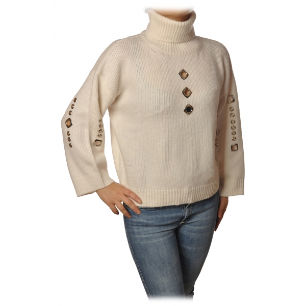 Pinko - Sweater Guyana High Neck Oversized with Studs - White - Sweater - Made in Italy - Luxury Exclusive Collection