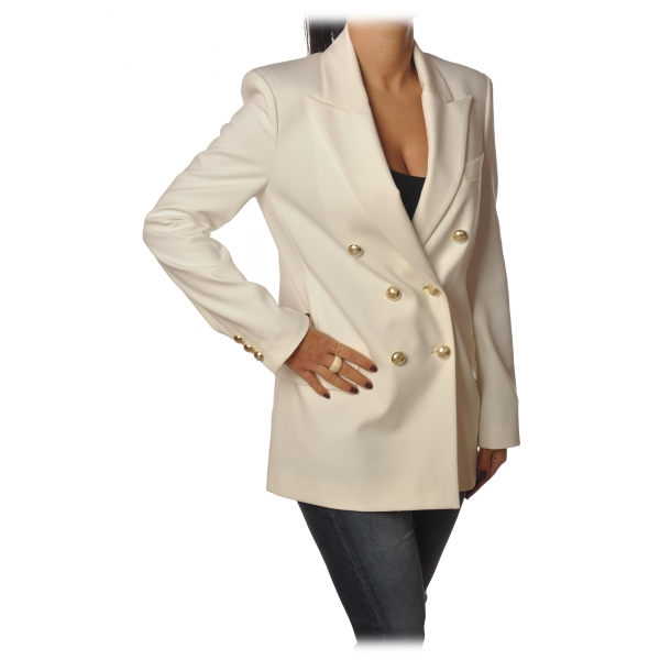 Pinko - Jacket Chinotto3 Double-breasted with Gold Buttons - White - Jacket - Made in Italy - Luxury Exclusive Collection