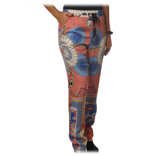 Pinko - Pantalone Phebe5 Gamba Morbida in Fantasia - Rosso/Blu - Pantalone - Made in Italy - Luxury Exclusive Collection
