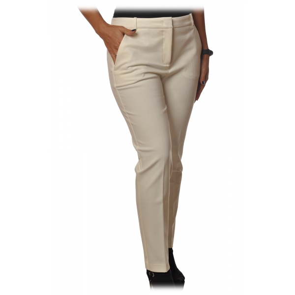 Pinko - Trousers Bello88 Cigarette Model Middle Waist - White - Trousers - Made in Italy - Luxury Exclusive Collection