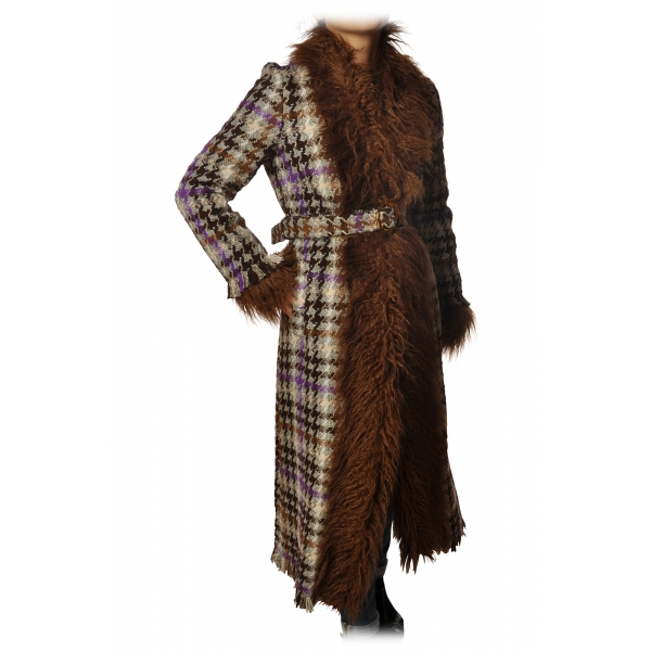 Pinko - Long Coat Orario with Fur - Brown/Purple - Jacket - Made in Italy - Luxury Exclusive Collection