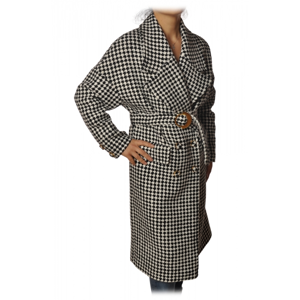 Pinko - Coat Alluvione1 Double Breasted Oversized - Black/White - Jacket - Made in Italy - Luxury Exclusive Collection