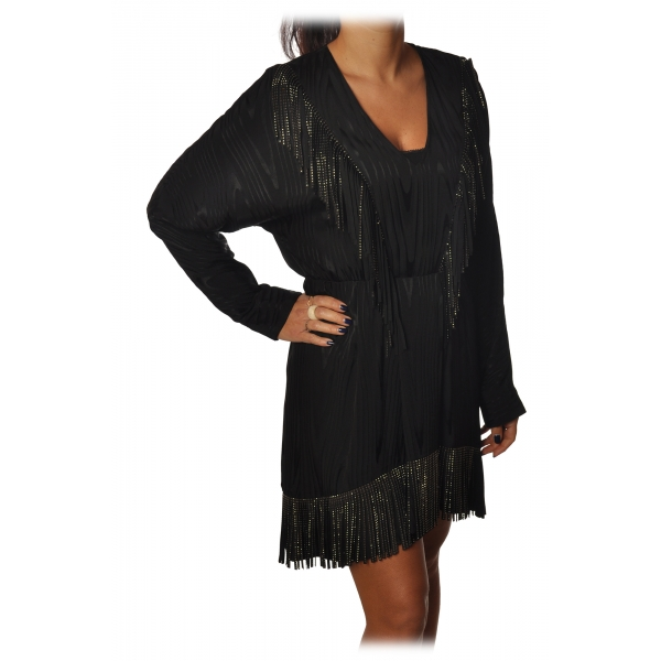 Pinko - Guarino Dress Mini with Fringes and Rhinestones - Black - Dress - Made in Italy - Luxury Exclusive Collection