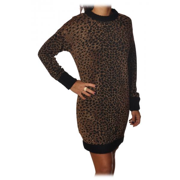 Pinko - Abito Mini in Maglia Leopardata Laminata - Rame/Nero - Abito - Made in Italy - Luxury Exclusive Collection