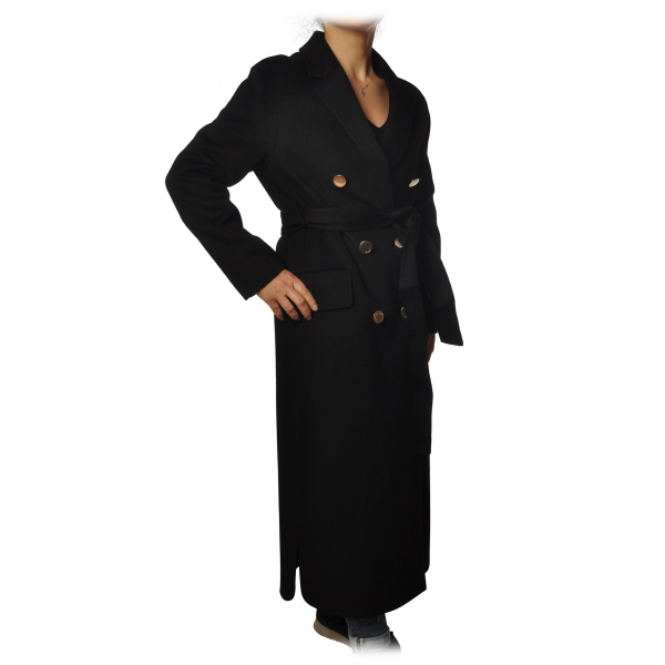 Pinko - Coat Giacomo Double Breasted Ankle Length - Black - Jacket - Made in Italy - Luxury Exclusive Collection