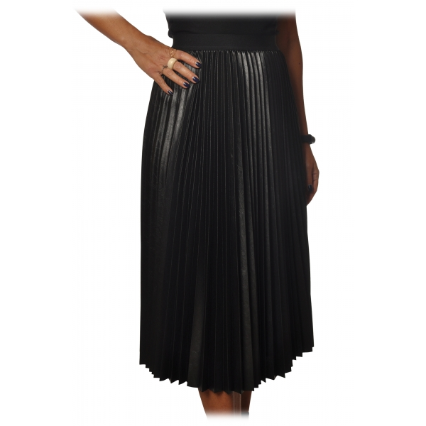 Pinko - Skirt Montare1 Midi Pleated Effect - Black - Skirt - Made in Italy - Luxury Exclusive Collection