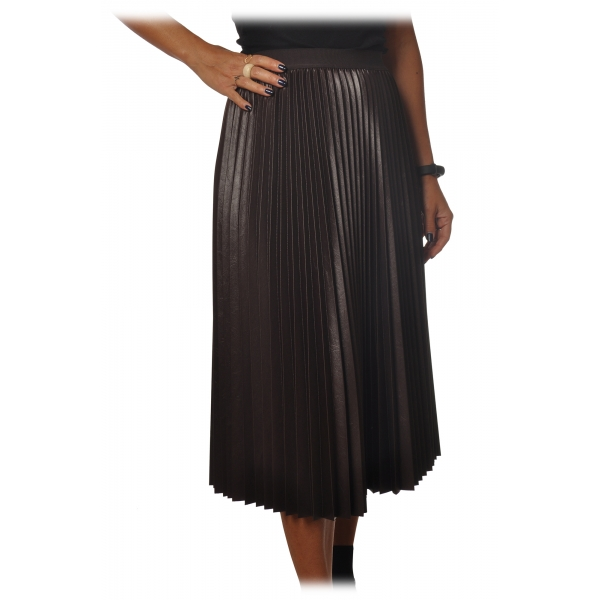 Pinko - Skirt Montare1 Midi Pleated Effect - Brown - Skirt - Made in Italy - Luxury Exclusive Collection
