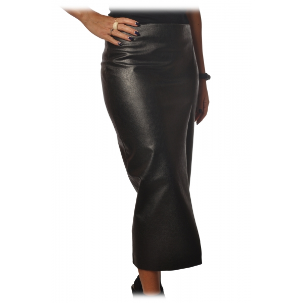 Pinko - Sheath Skirt Nebbia in Faux Leather - Black - Skirt - Made in Italy - Luxury Exclusive Collection