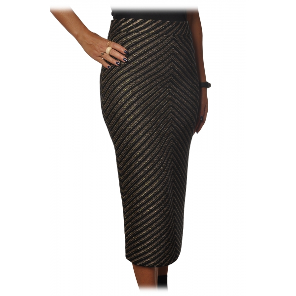 Pinko - Sheath Skirt Gas Midi in Diagonal Laminated Knit - Black - Skirt - Made in Italy - Luxury Exclusive Collection