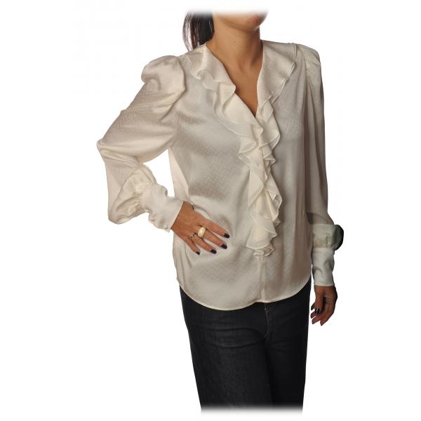 Pinko - Blusa Astrometria2 Scollo a V Effetto Jacquard - Bianco - Camicia - Made in Italy - Luxury Exclusive Collection