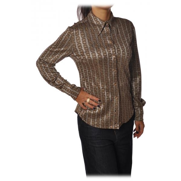 Pinko - Camicia Sisma Manica Lunga in Fantasia - Grigio/Oro - Camicia - Made in Italy - Luxury Exclusive Collection