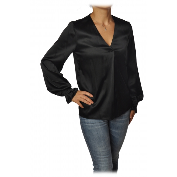 Pinko - Blouse Renzo with Long Sleeve and V-neck in Silk - Black - Shirt - Made in Italy - Luxury Exclusive Collection