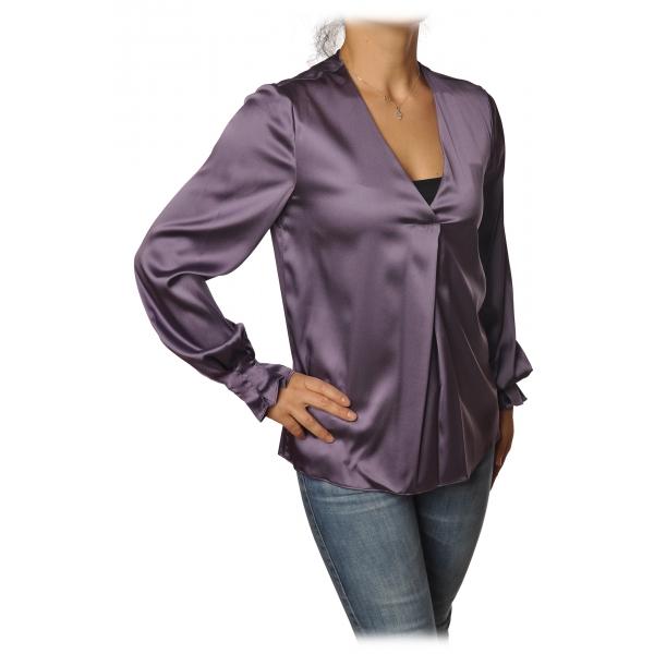 Pinko - Blusa Renzo Manica Lunga Scollo a V in Seta - Viola - Camicia - Made in Italy - Luxury Exclusive Collection
