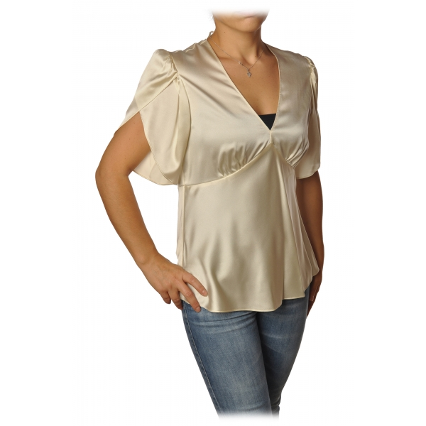 Pinko - Blouse William with Tulip-Shaped Sleeves in Silk - Ivory - Shirt - Made in Italy - Luxury Exclusive Collection