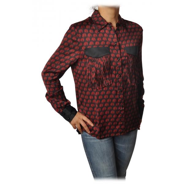 Pinko - Blusa Aristide Manica Lunga Fantasia in Seta - Nero/Rosso - Camicia - Made in Italy - Luxury Exclusive Collection