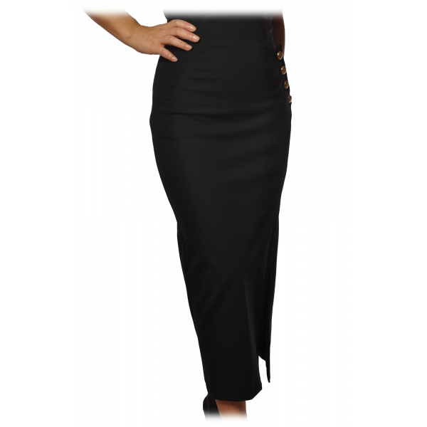 Pinko - Wrap Skirt Goffredo with Slit - Black - Skirt - Made in Italy - Luxury Exclusive Collection