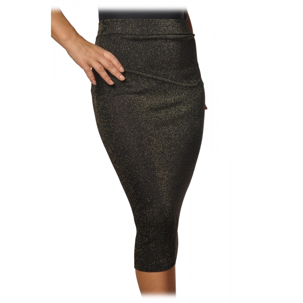 Pinko - Sheath Skirt Brevik in Lurex Knit - Grey - Skirt - Made in Italy - Luxury Exclusive Collection
