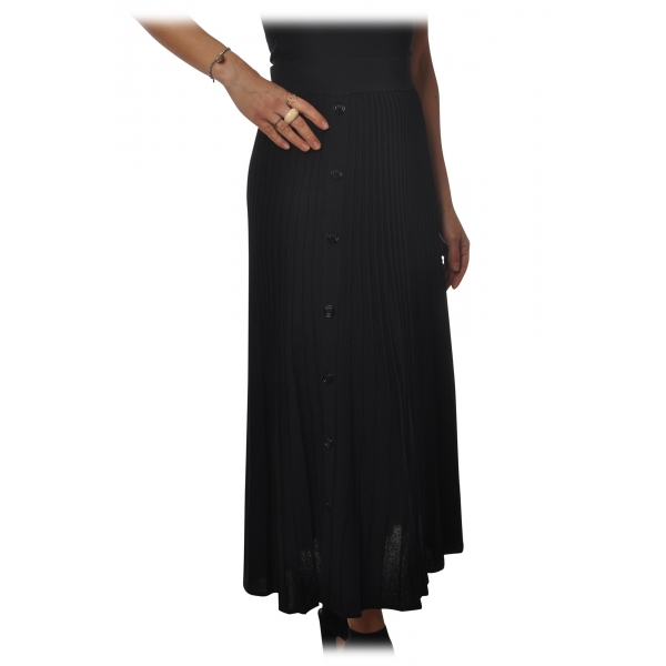 Pinko - Skirt Boga Midi Cannettè Effect - Black - Skirt - Made in Italy - Luxury Exclusive Collection