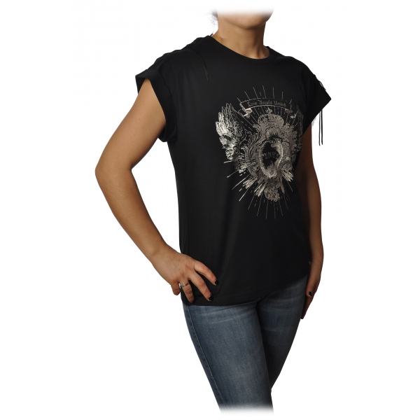 Pinko - T-shirt Cantucci con Stampa e Frange - Nero - T-Shirt - Made in Italy - Luxury Exclusive Collection