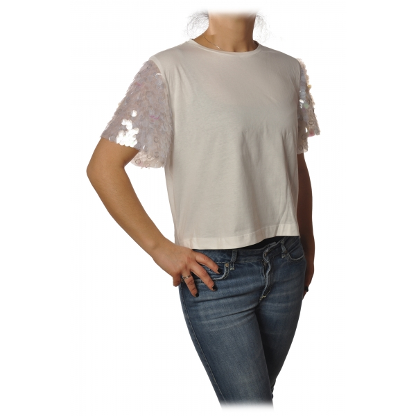 Pinko - T-shirt Cyborg with Sleeves covered with Sequins - White - T-shirt - Made in Italy - Luxury Exclusive Collection