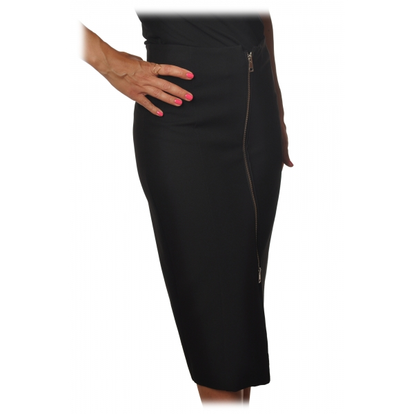 Pinko - Longuette Skirt Sagomare with Zip Detail - Black - Skirt - Made in Italy - Luxury Exclusive Collection