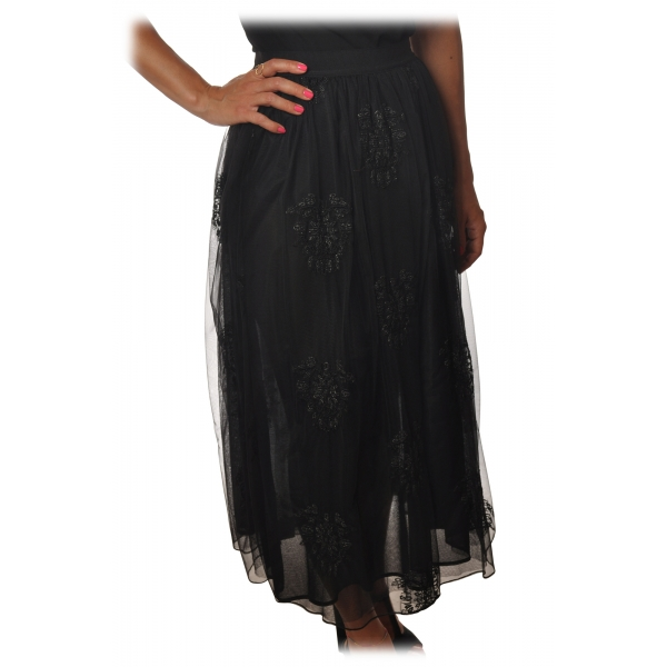 Pinko - Flared Skirt Maritare in Embroidered Tulle - Black - Skirt - Made in Italy - Luxury Exclusive Collection
