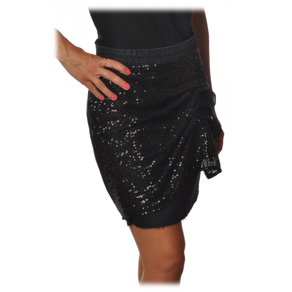 Pinko - Short Skirt Etta in Denim with Paillettes - Black - Skirt - Made in Italy - Luxury Exclusive Collection