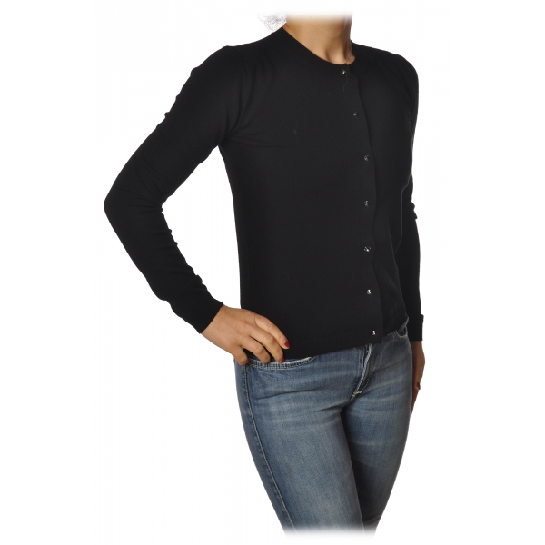 Twinset - Short Cardigan with Buttons - Black - Knitwear - Made in Italy - Luxury Exclusive Collection