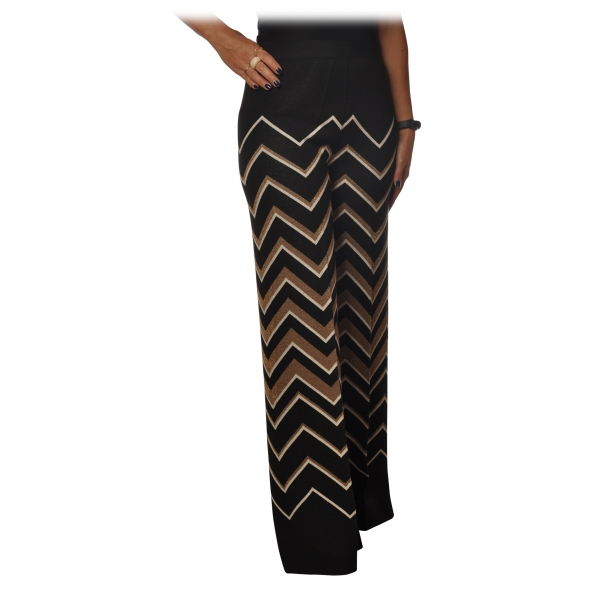 Twinset - Palazzo Trousers in Geometric Pattern - Black/Gold - Trousers - Made in Italy - Luxury Exclusive Collection