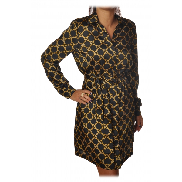 Twinset - Shirt Cut Dress in Gold Chain Pattern - Black/Gold - Dress - Made in Italy - Luxury Exclusive Collection