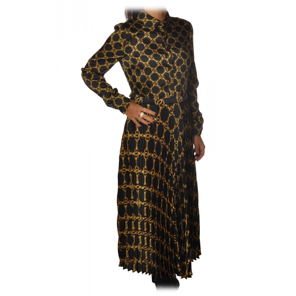 Twinset - Dress with Pleated Bottom in Gold Chain Pattern - Black/Gold - Dress - Made in Italy - Luxury Exclusive Collection