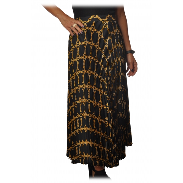 Twinset - Midi Pleated Skirt in Gold Chain Pattern - Black/Gold - Skirt - Made in Italy - Luxury Exclusive Collection