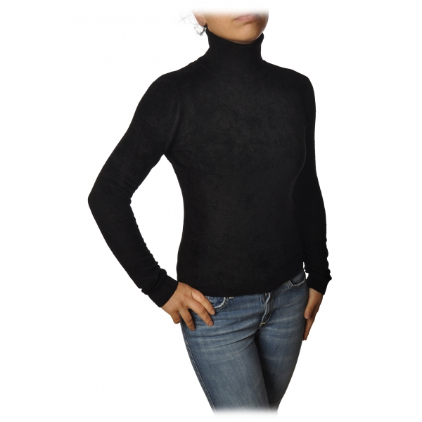 Twinset - High Neck Sweater in Chenille Effect - Black - Knitwear - Made in Italy - Luxury Exclusive Collection