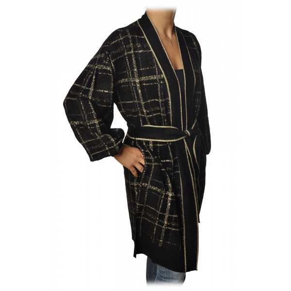 Twinset - Cardigan with Belt in Square Pattern - Black/Gold - Knitwear - Made in Italy - Luxury Exclusive Collection