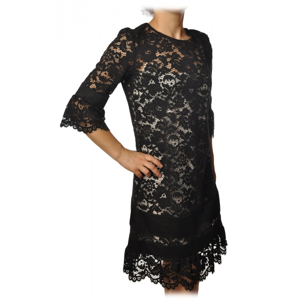 Twinset - Crewneck Dress Trapeze Fit in Lace - Black - Dress - Made in Italy - Luxury Exclusive Collection