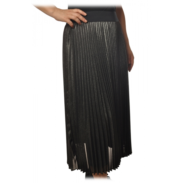 Twinset - Pleated Longuette Skirt Lamè Effect - Anthracite - Skirt - Made in Italy - Luxury Exclusive Collection