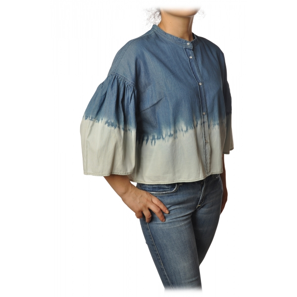 Twinset - Korean Shirt in Faded Effect - Denim/White - Shirt - Made in Italy - Luxury Exclusive Collection