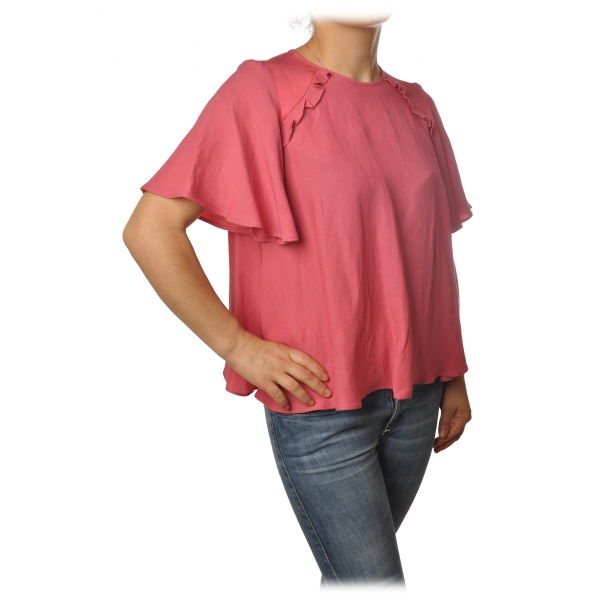 Twinset - Trapeze Fit Blouse Short Sleeves with Gala - Pink - Shirt - Made in Italy - Luxury Exclusive Collection