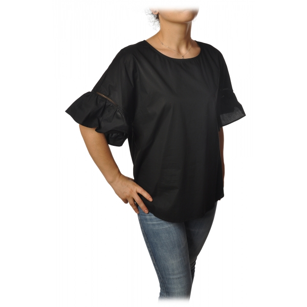 Twinset - Crew-neck Shirt with Short Sleeves and Frill - Black - Shirt - Made in Italy - Luxury Exclusive Collection