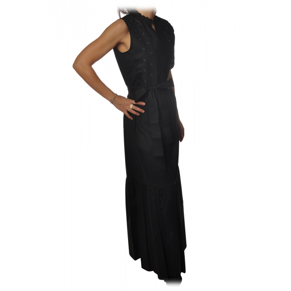 Twinset - Long Dress with Embroidered Bib - Black - Dress - Made in Italy - Luxury Exclusive Collection