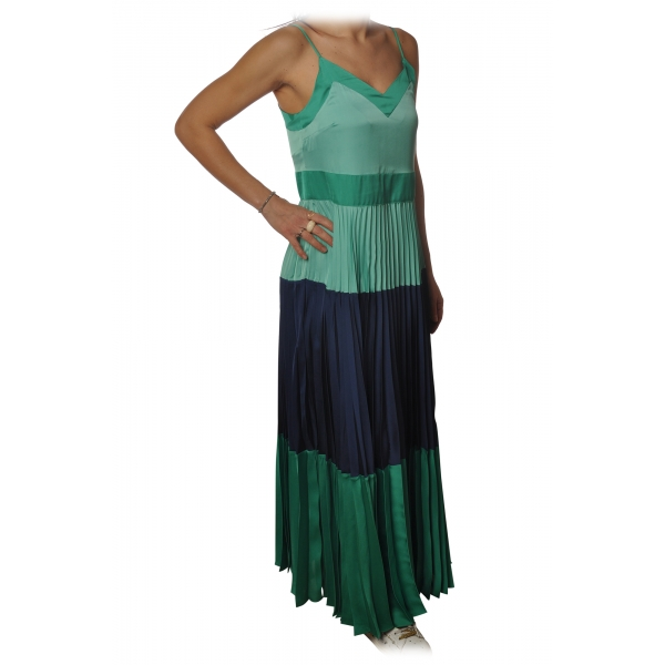 Twinset - Long Dress with Pleated Skirt in Satin - Green/Blue - Dress - Made in Italy - Luxury Exclusive Collection