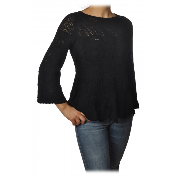 Twinset - Openwork Sweater Flared Effect on the Bottom - Black - Knitwear - Made in Italy - Luxury Exclusive Collection