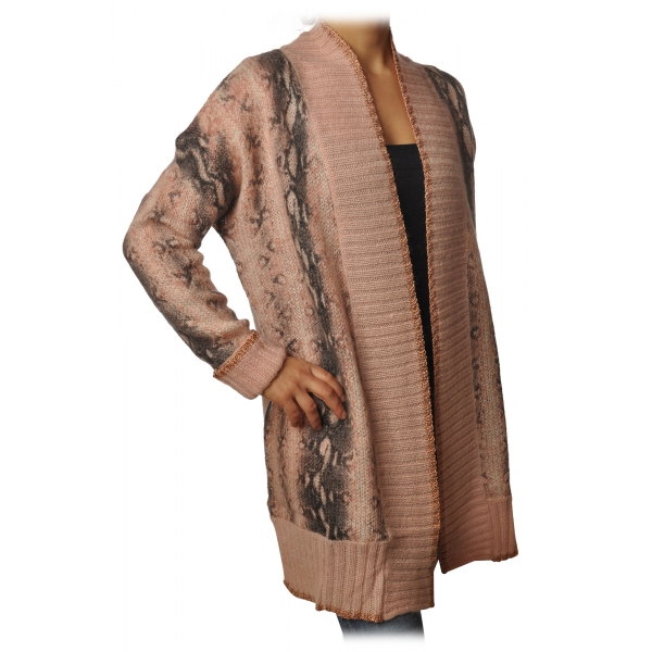 Twinset - Maxi Cardigan in Python Print - Pink - Knitwear - Made in Italy - Luxury Exclusive Collection