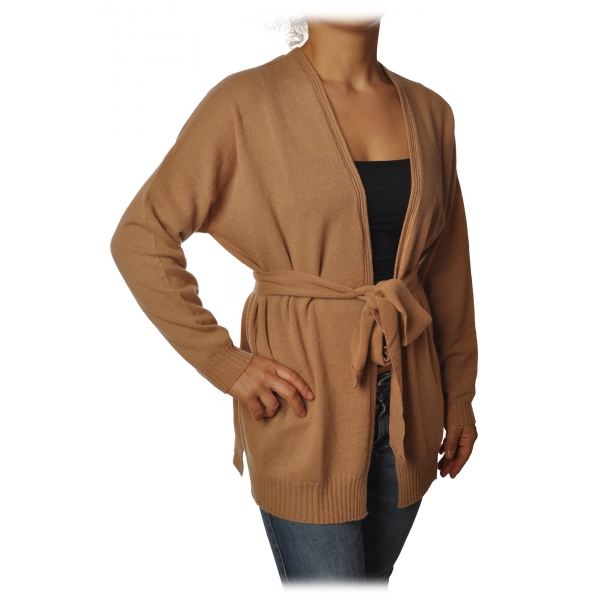 Twinset - Long Cardigan with Belt - Camel - Knitwear - Made in Italy - Luxury Exclusive Collection