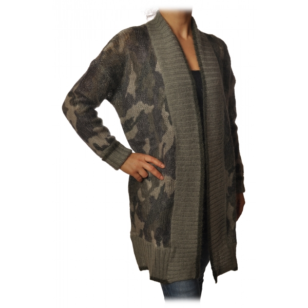 Twinset - Maxi Cardigan in Camouflage Print - Military Green - Knitwear - Made in Italy - Luxury Exclusive Collection
