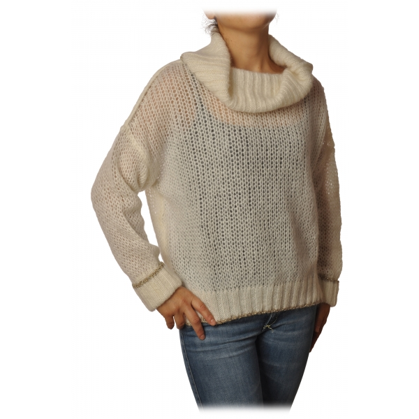 Twinset - Sweater with Soft High Neck Oversized - Cream - Knitwear - Made in Italy - Luxury Exclusive Collection