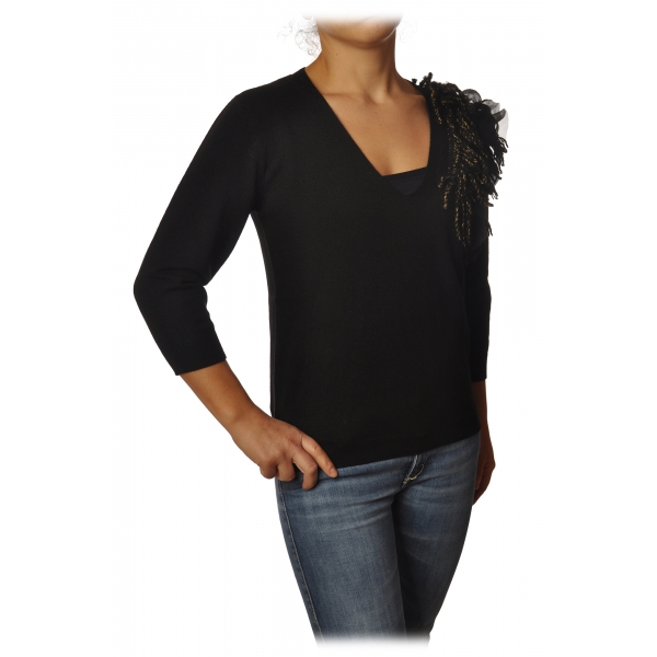 Twinset - V-neck Sweater with Fringes Detail - Black - Knitwear - Made in Italy - Luxury Exclusive Collection