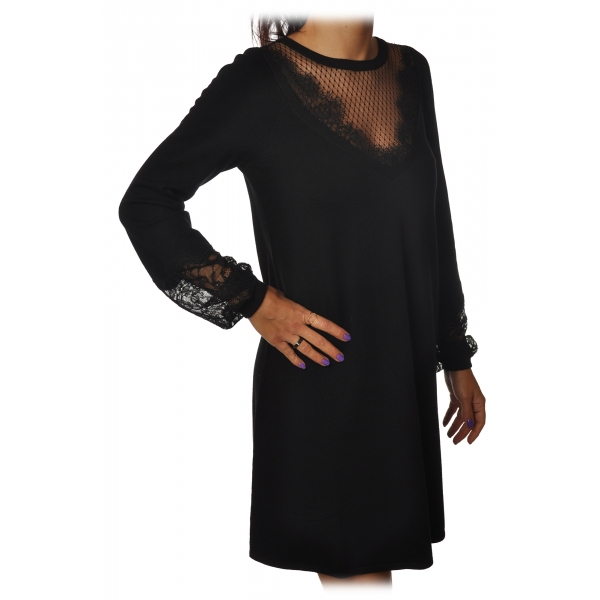 Twinset - Dress Trapeze Fit with Lace Detail - Black - Dress - Made in Italy - Luxury Exclusive Collection