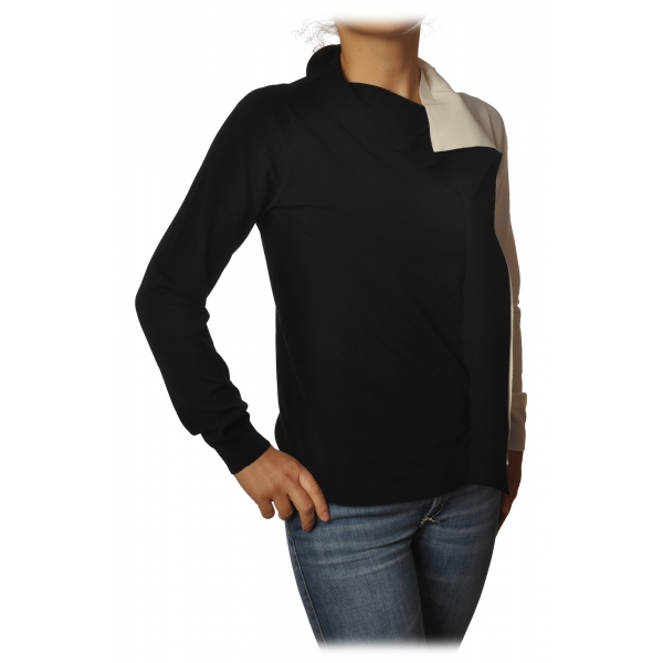 Twinset - Turtleneck Shirt Bicolor with Gala - Black/White - Knitwear - Made in Italy - Luxury Exclusive Collection