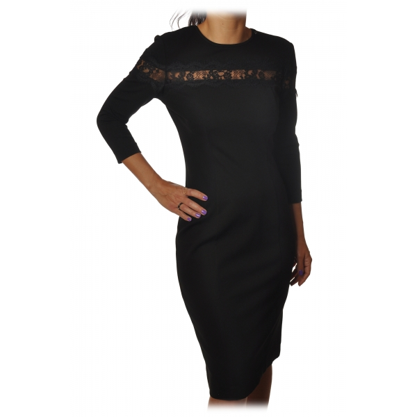 Twinset - Sheath Technical Dress with Lace Detail - Black - Dress - Made in Italy - Luxury Exclusive Collection